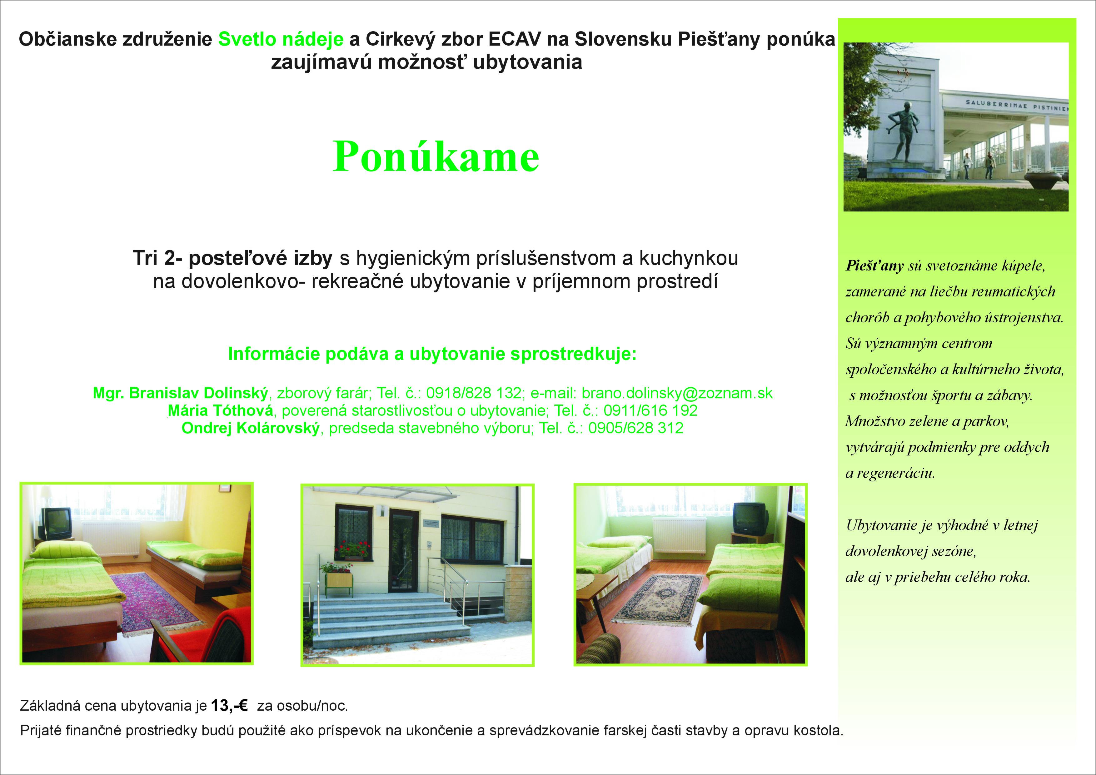 Piešťany - ubytovanie / ubytování - cena 13 EUR za osobu a noc - CENTRUM MESTA !!!